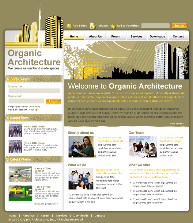dreamweaver layout templates - architecture studio dreamweaver templates