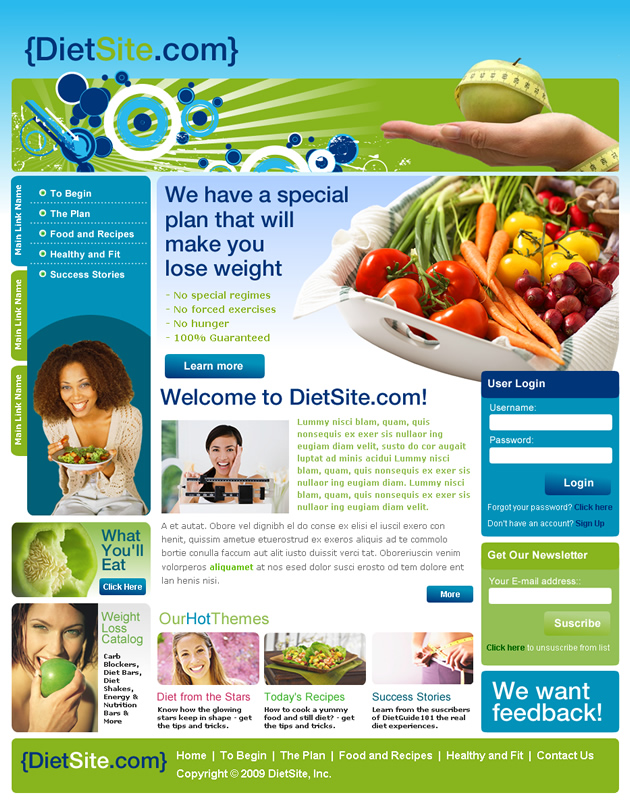 diet site Dreamweaver Template