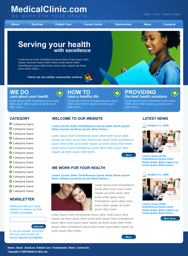 Medical clinic dreamweaver templates for Dream weaver template