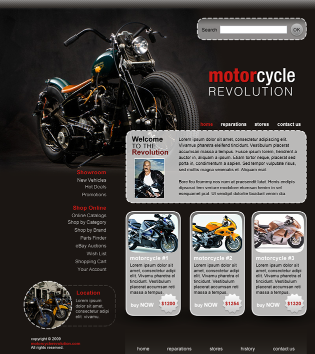 Motorcycle Dreamweaver Template