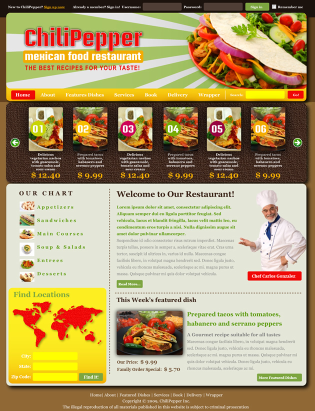 Restaurant Dreamweaver Template
