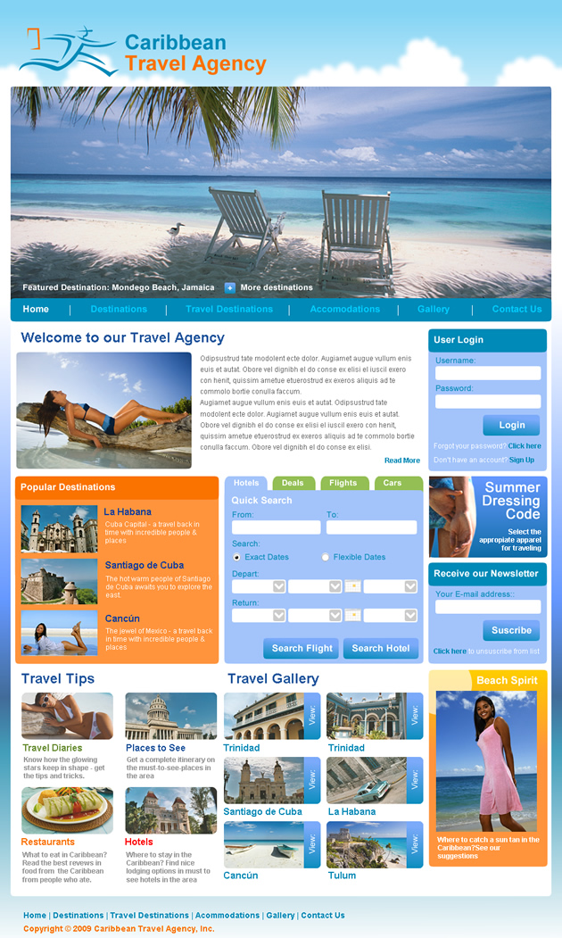 Travel Dreamweaver Template