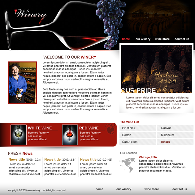 Winery dreamweaver templates for Dream weaver template